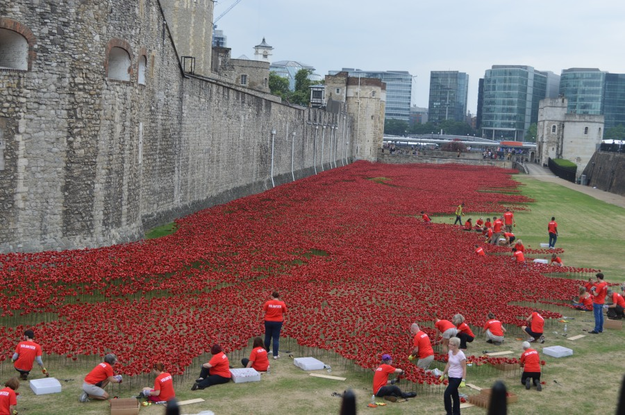One of the most poignant and iconic images in London currently. The Tower of London's dry moat filled with thousands of ceramic poppies from August to November to mark the World War One centenary.