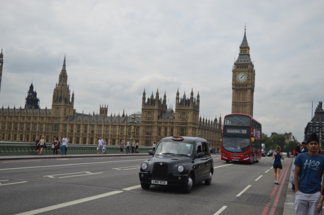 A well-timed photo allowed me to capture a black cab, a red double-decker bus and the Houses of Parliament on Westminster Bridge.