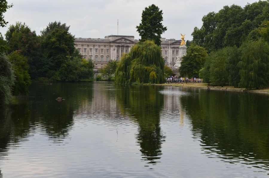 The view of Buckingham Palace from St. James's Park.
